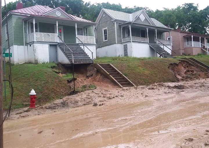 Mud slide on bryant avethe street below the street