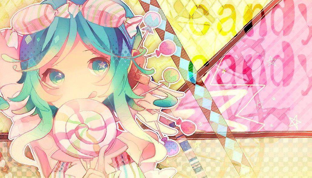 Tags Fanart, Vocaloid, Wallpaper, GUMI, Candy Candy (Song