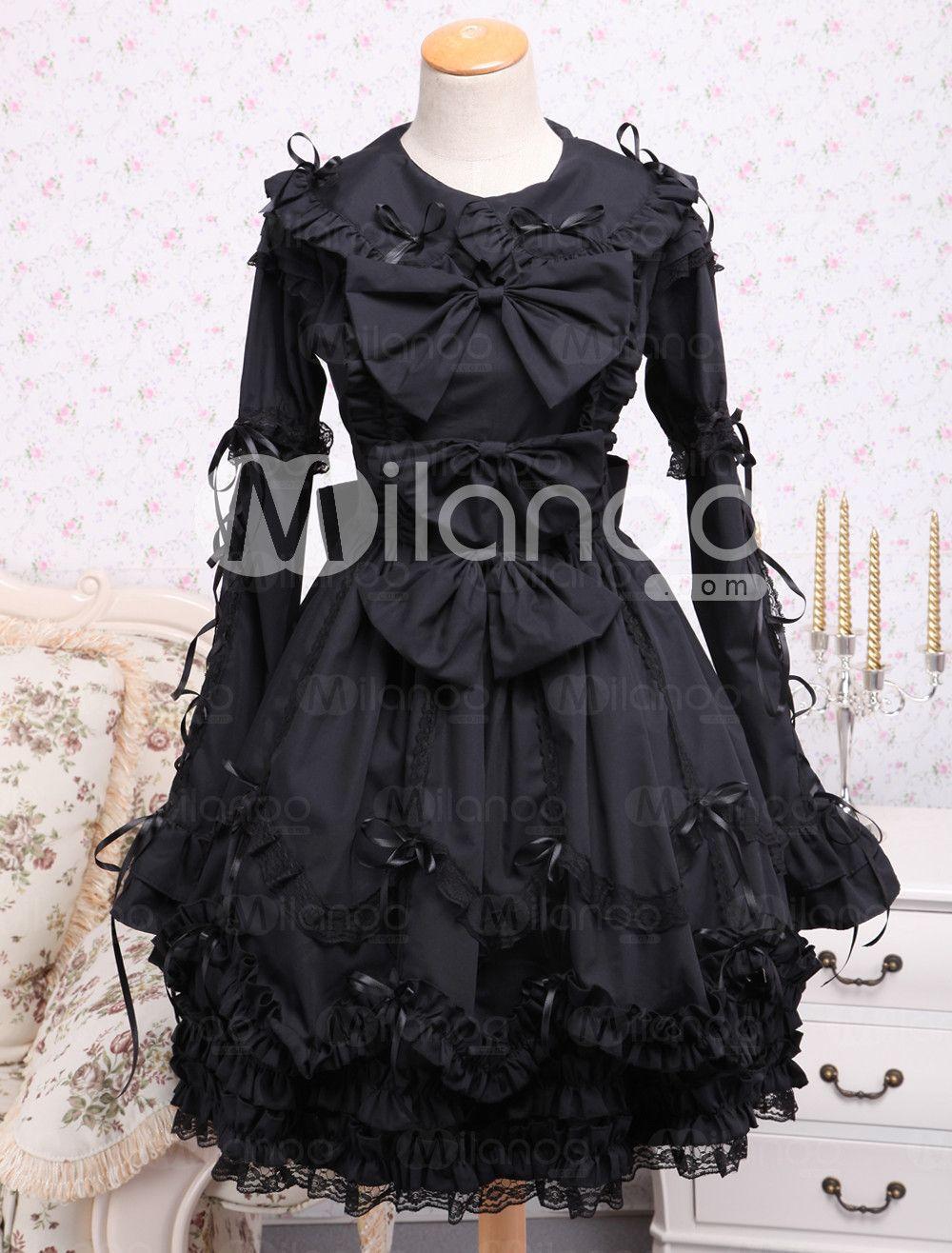 Elegant Gothic Black Cotton Lolita OP Dress Long Sleeves Lace Trim ...