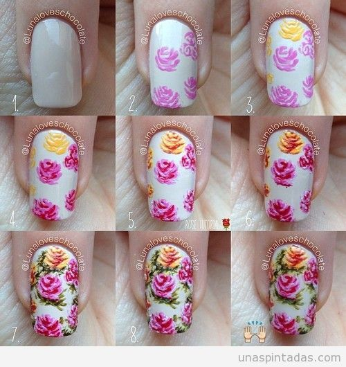 Tutorial Aprender Como Dibujar Rosas Decoracion Unas Nail Art Primaveras Jpg 500 530 Rose Nail Art Floral Nails Nail Art Tutorial