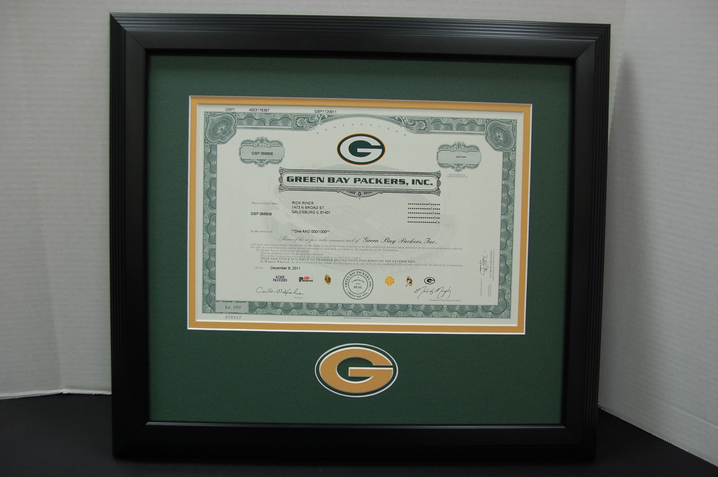 14 X 16 Green Bay Packers Stock Share Frame Display We Mounted The