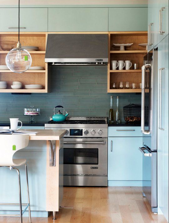 Kitchen Colors: Pale Blue & Grey For a Light Kitchen That Isn't White! #bluegreykitchens