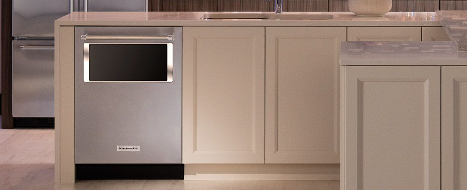 A new KitchenAid dishwasher model which features a window and