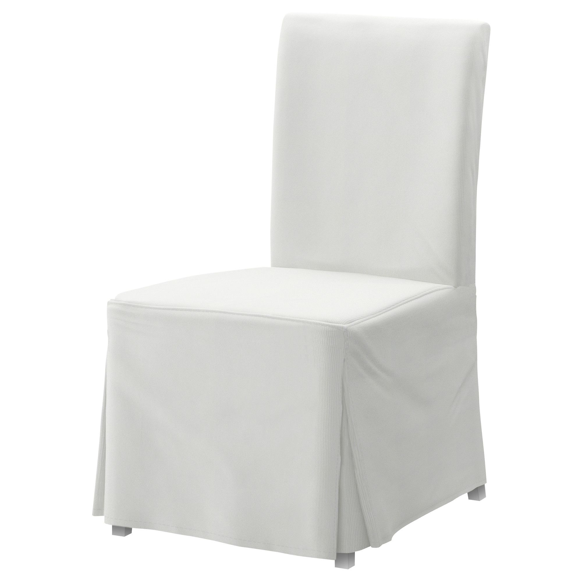 HENRIKSDAL Chair with long cover white, Blekinge white