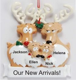 Reindeer Family Proud Parents of Twins - Personalized First ...
