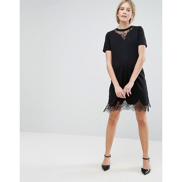 T-Shirt Dress with Lace Inserts - Black Asos Maternity View Marketable Discount New Arrival Clearance Factory Outlet Discount With Credit Card RsuHGF