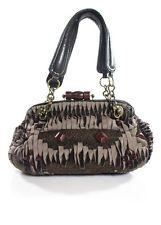 JAMIN PUECH Brown Velvet Trim Beaded Double Leather Handle Shoulder Handbag