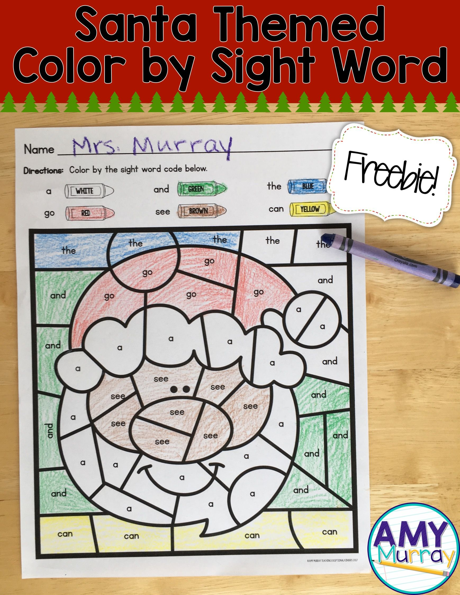 Free Christmas Themed Color By The Code Sight Words Ideas For Teaching