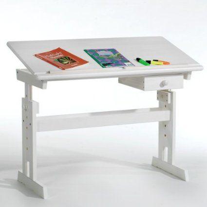 Bureau enfant FLEXI blanc, réglable en hauteur et plateau inclinable