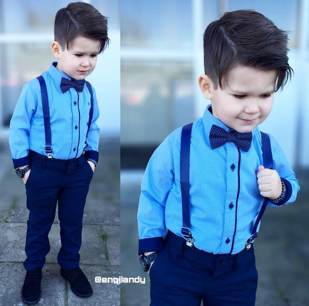 blue long sleeves with ribbon necktie and jumper pants | kidz style ...