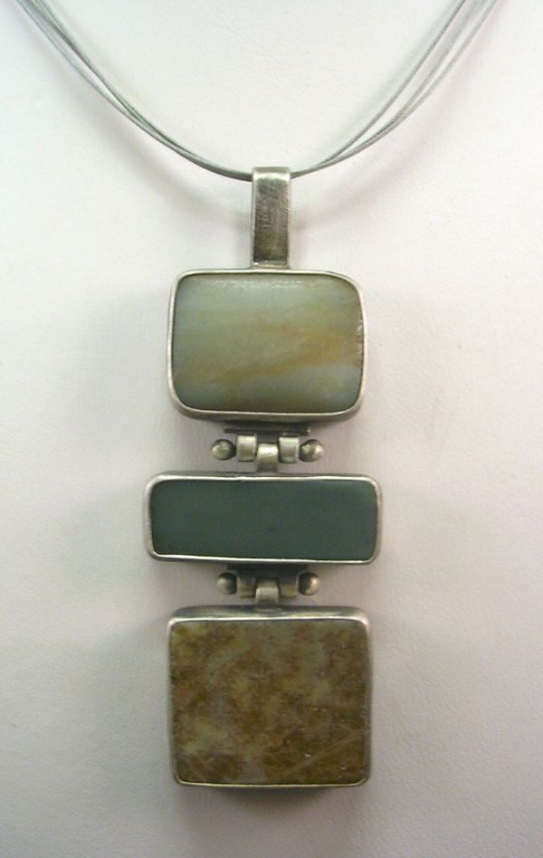 Unique Three Stone & Brushed Sterling Silver Necklace by Terri Logan