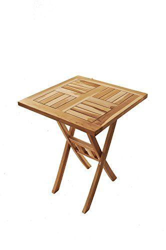 Sam Teak Holz Balkontisch Gartentisch Holztisch Quadratisch