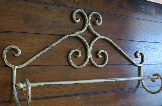 Porta Asciugamani Bagno Shabby : Shabby chic towel bar antique gold towel hanger metaltowel bar