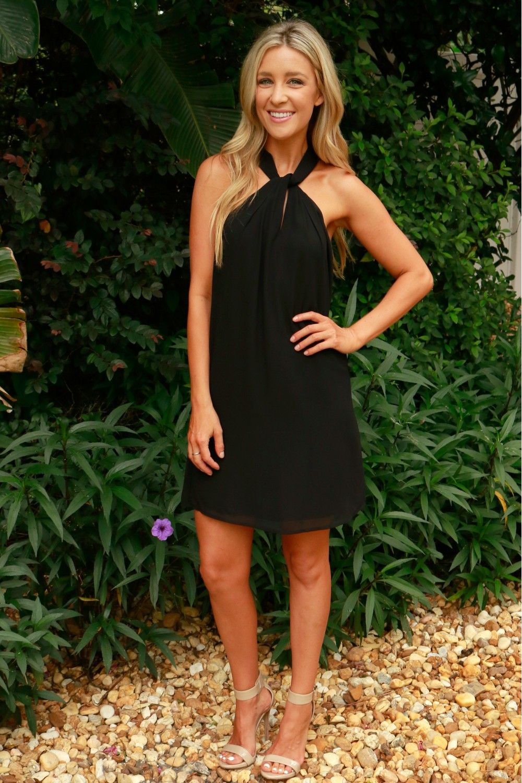 Twist Neck Dress Black