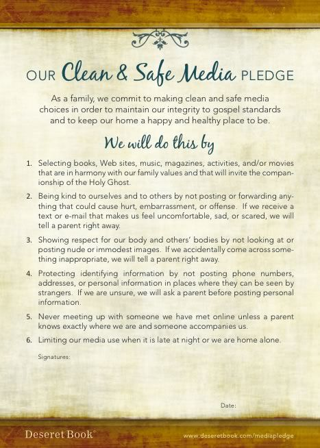 Preparing a FHE lesson on Internet/pornography and found this awesome family pledge to print! I will have our family sign it and frame it for our home and then I also printed of wallet size ones for each of my kids to sign,laminate and keep in thier wallets or scriptures...so excited about this!