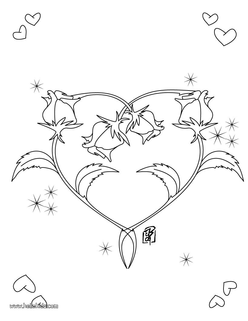 Heart flower coloring pages - Roses Heart Coloring Page Heart Coloring Pages