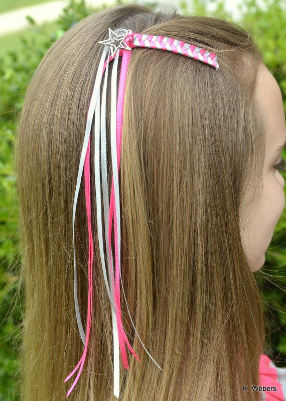 Rock Star Braided Barrette Hot Pink And Silver With Star Charm Ribbon Hair Bows Diy Hair Accessories Hair Charms