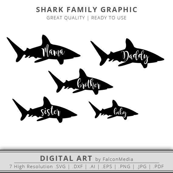 9ab0cd63 Shark Family - Mama - Daddy - Brother - Sister - Baby Shark Silhouette Pack  - Mama SVG - Mom SVG - M