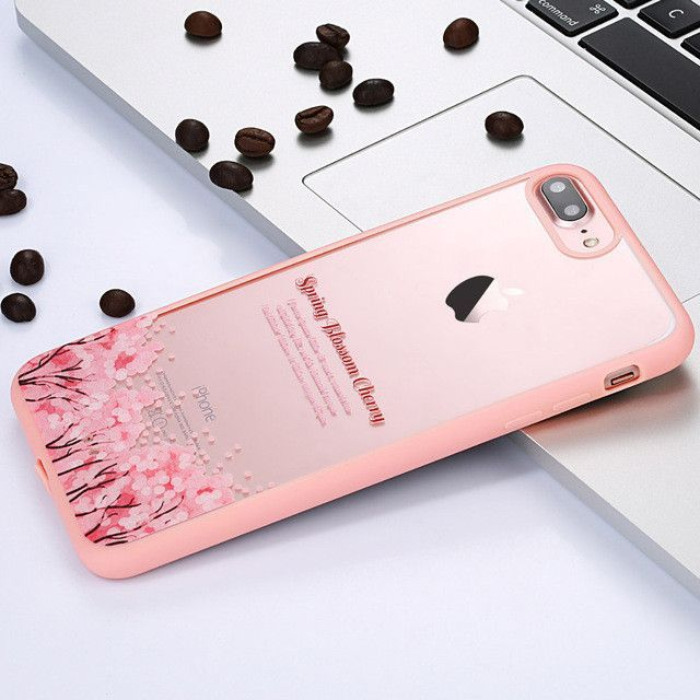 Playful and Fun-Luxury Transparent Acrylic Elegant Cherry Blossom Pattern Back Cover Case Coque Capa For iPhone 7 6 6s 5 5s SE Plus