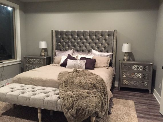 Diamond Tufted Wingback Headboard and Bench Set (King, Extra Tall)