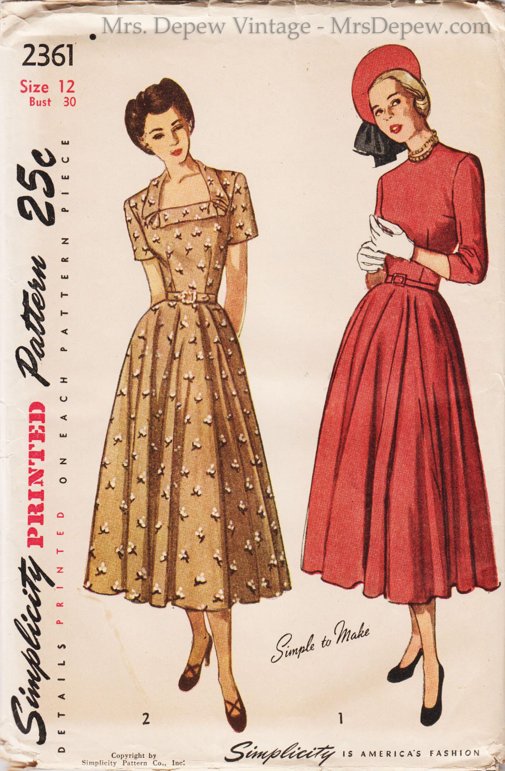 Vintage Sewing Pattern Simplicity 2361 Dress And Bolero 1940s 30 Bust With Free Pattern Grading E Book Included In 2021 Vintage Dress Sewing Patterns 1940s Dress Pattern 1940s Fashion