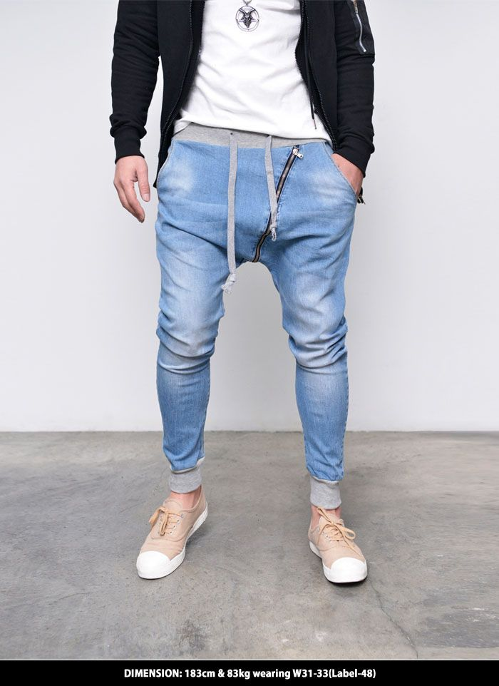 5b1087cc530d Mens Slant Zip Denim Harem Baggy Jogger-Jeans 275 by Guylook.com Bermudas  Shorts