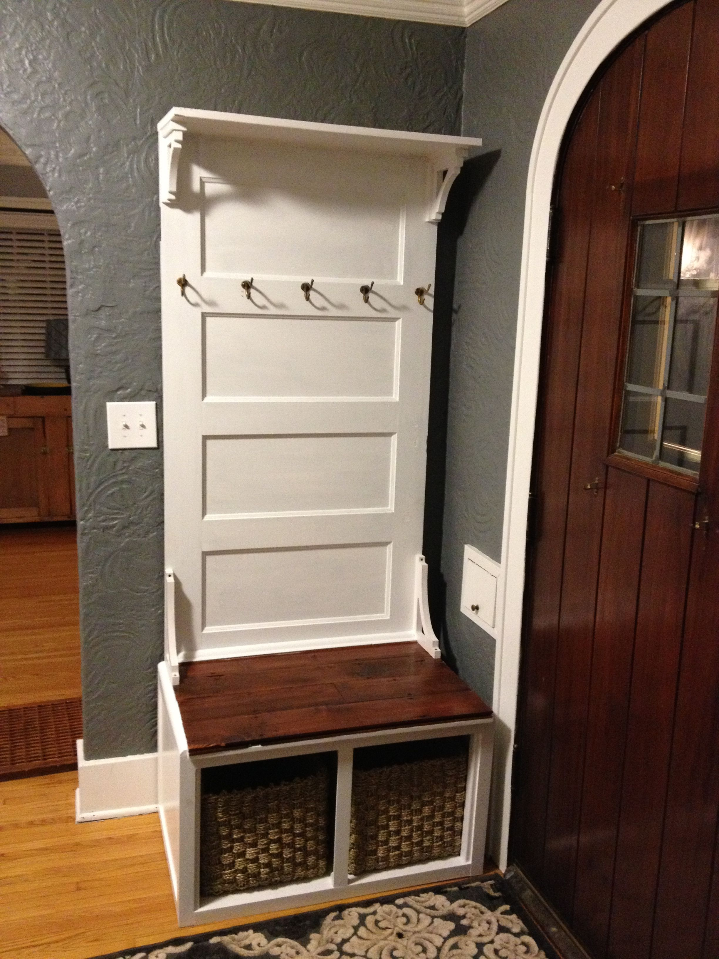 Have Coat Hooks On It For Towels And Then Have The Bench And Under Storage For Shower Supplies