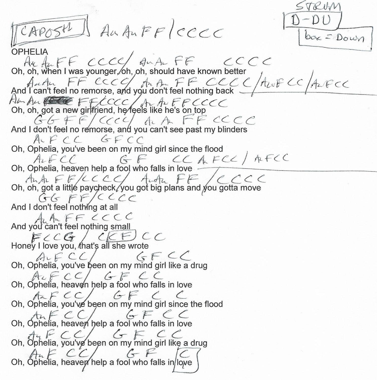 Ophelia Lumineers Guitar Chord Chart   Capo 15th   Ukulele chords ...