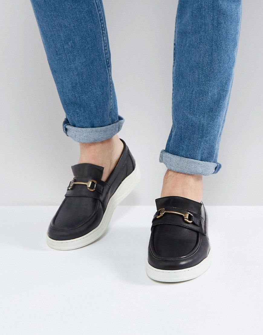 ASOS Loafers In Black Leather With