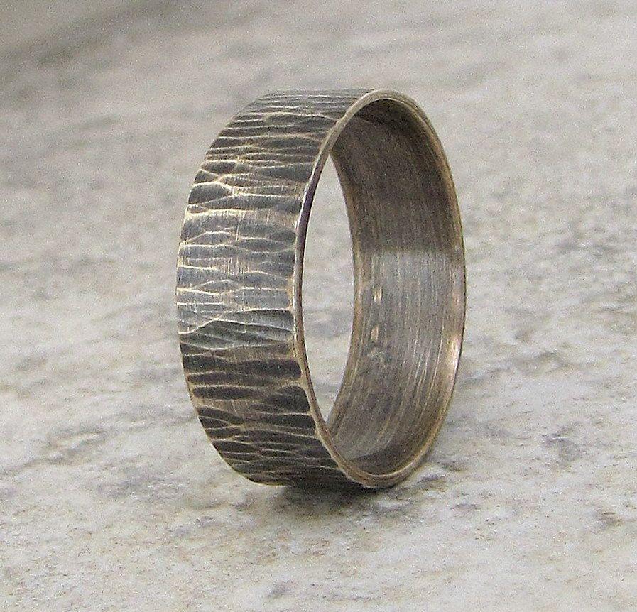 Mens Wedding Band Hammered Silver Ring Bark Woodgrain 5800