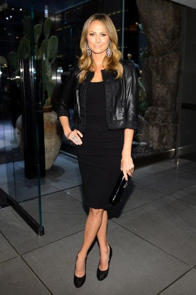Stacy Keibler Outfits with Little Black Dress, Leather Jacket for ...