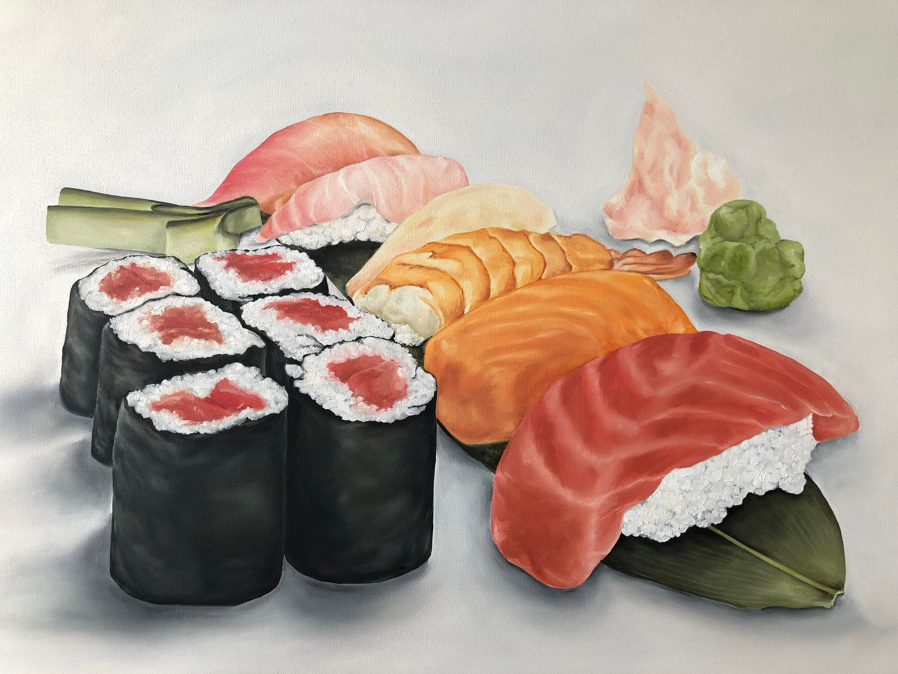 "Poster 24/"" x 36/"" Sushi Rolls Seafood Meats Fish Salmon Tuna Shrimp Rice"