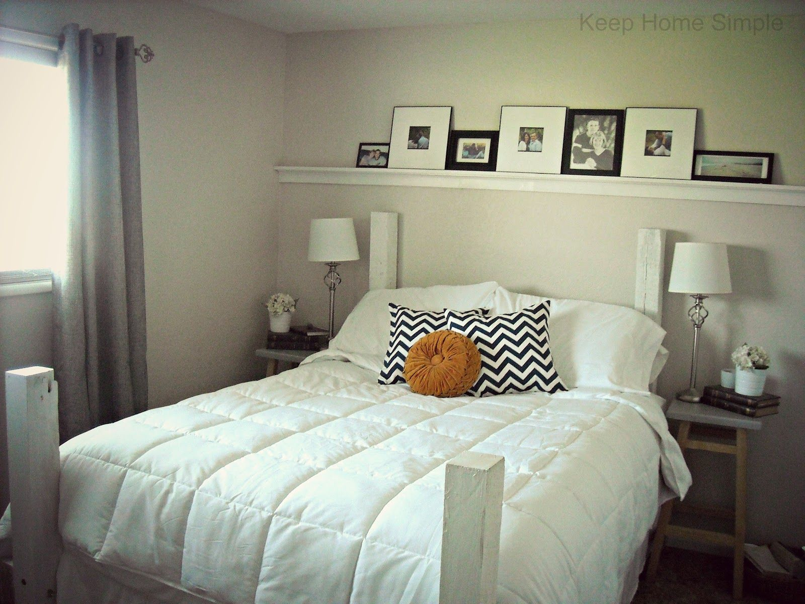 Master bedroom shelves above the bed  Keep Home Simple Redecorating Our Master bedroom on a Small Budget