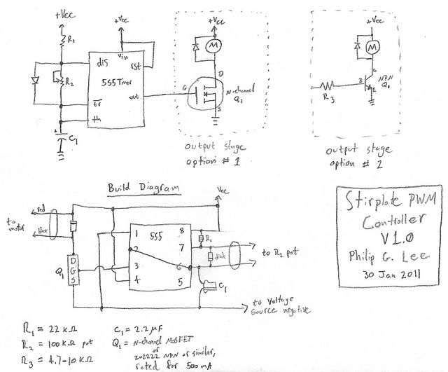 Simple Pwm Moter Controller Based On 555 And 2n2222 Good For Motors