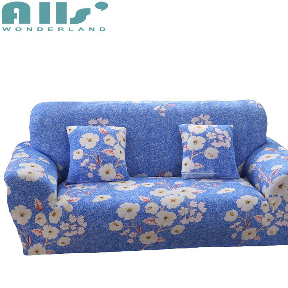 Polyester Sofa Cover With White Flower Patterns Couch Slipcovers Cheap Stretchable Sofa Cover Modern Furniture Protector Sliprcover So Sillones Sillas Living