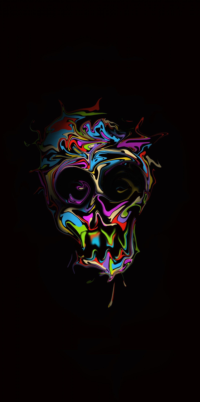 1440x2880 Glitch Art Colorful Skull Dark Art Wallpaper Skull Artwork Skull Wallpaper Nature Iphone Wallpaper