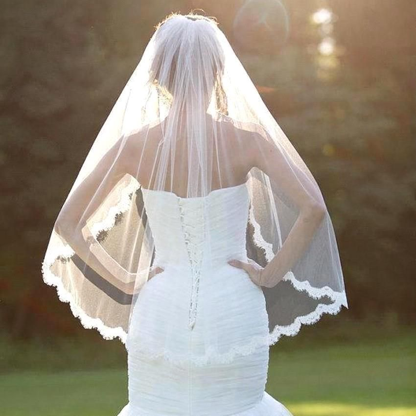 Photo of Hip Length Tulle Lace Wedding Veil Bridal Veil  from Onlyfor…