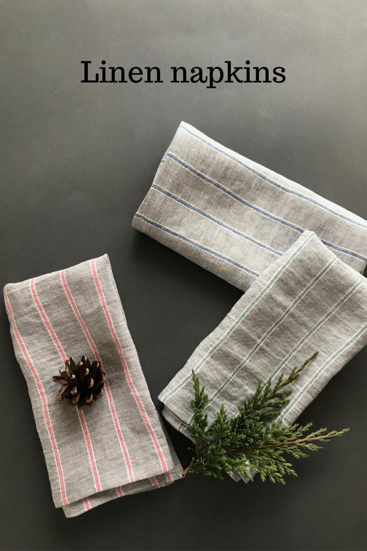 Gray linen napkins set of 3 4 6 8 9 10 12. Cloth napkins with pink, blue or green stripes. Washed linen napkins for dinner or lunch #clothnapkins