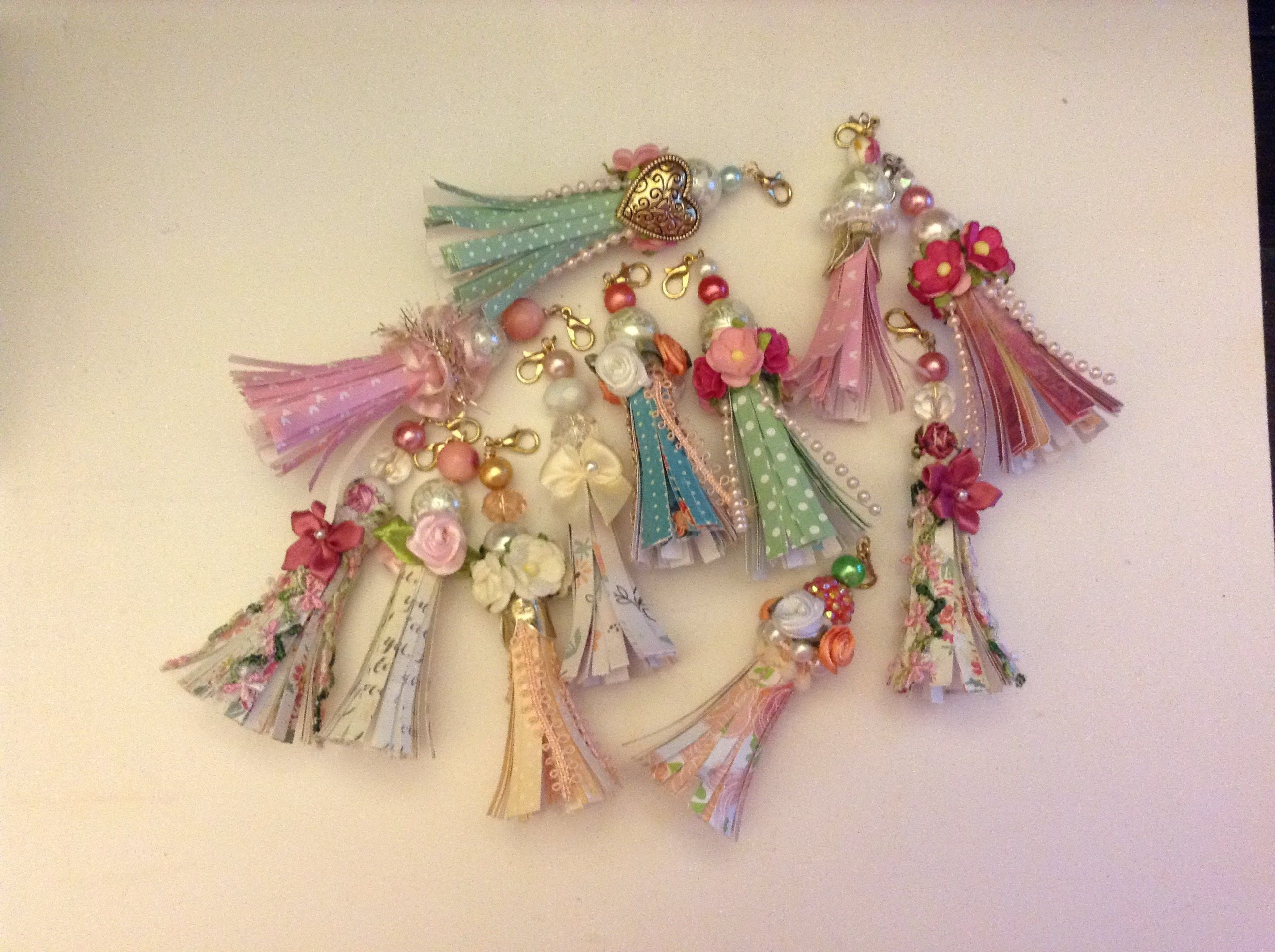 Boho Tassel with Hand Beaded Tassel Topper Sari Silk Tassels Junk Journal Embellishments