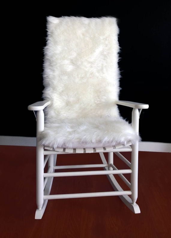 Rocking Chair Cushion White Black Speckled Fur By RockinCushions