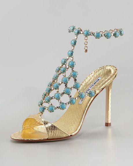 Manolo Blahnik Gold 'Neisme' Beaded Snakeskin Sandal $1,995 2013 #Manolos  #Shoes #