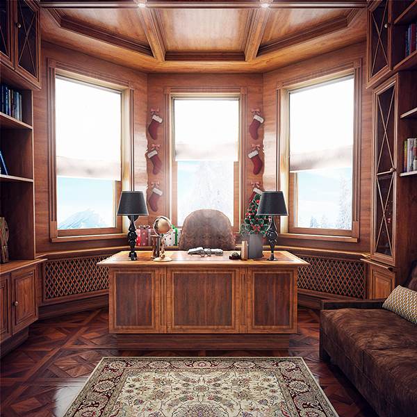High Quality Grand Home Office With Warm Wood