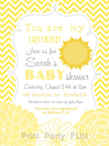 My Sunshine Baby Shower Invitation