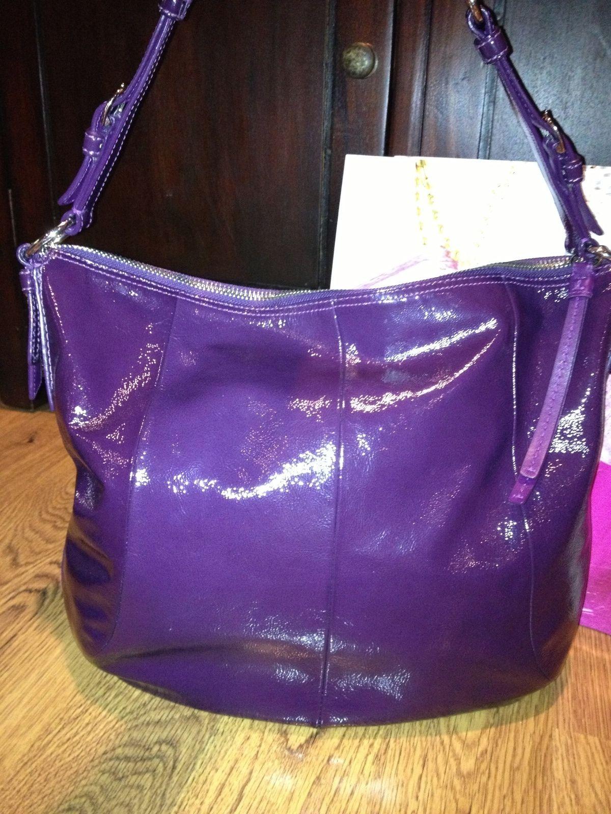 Coach 12687 Soho Purple Plum Crinkle Patent Hobo Bag Shoulder Tote Duffle  Purse   eBay e2cf9a61a6