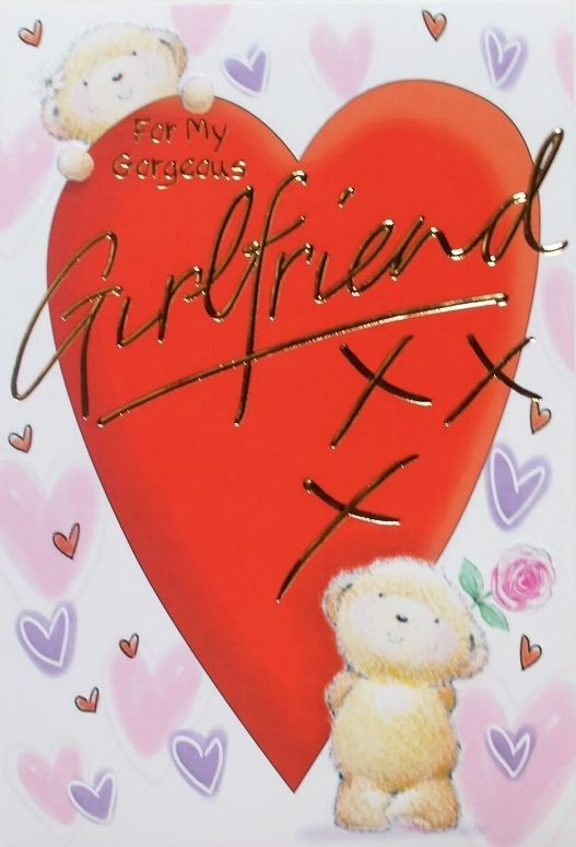 For My Gorgeous Girlfriend Birthday Greeting Card Hearts Theme