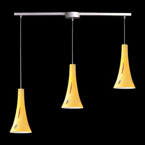 ELK Lighting 140-3L-Yw Three Light Pendant In Satin Nickel And Yellow Blaze Glass