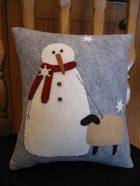 Snowman And Sheep Friend Christmas Winter Wool Applique Pillow Etsy Applique Pillows Christmas Cushions Christmas Pillow