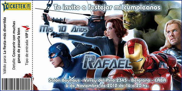 Avengers Birthday Invitation Card Tarjeta Invitación Para