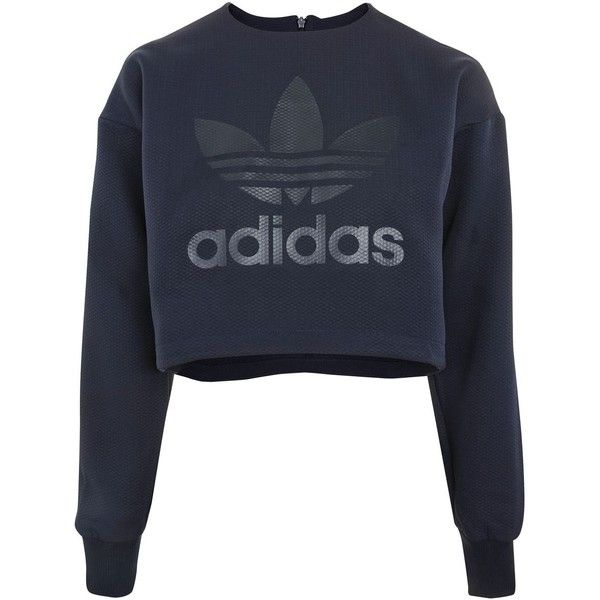 Crop Sweatshirt by Adidas Originals ($66) ❤ liked on Polyvore featuring  tops, hoodies