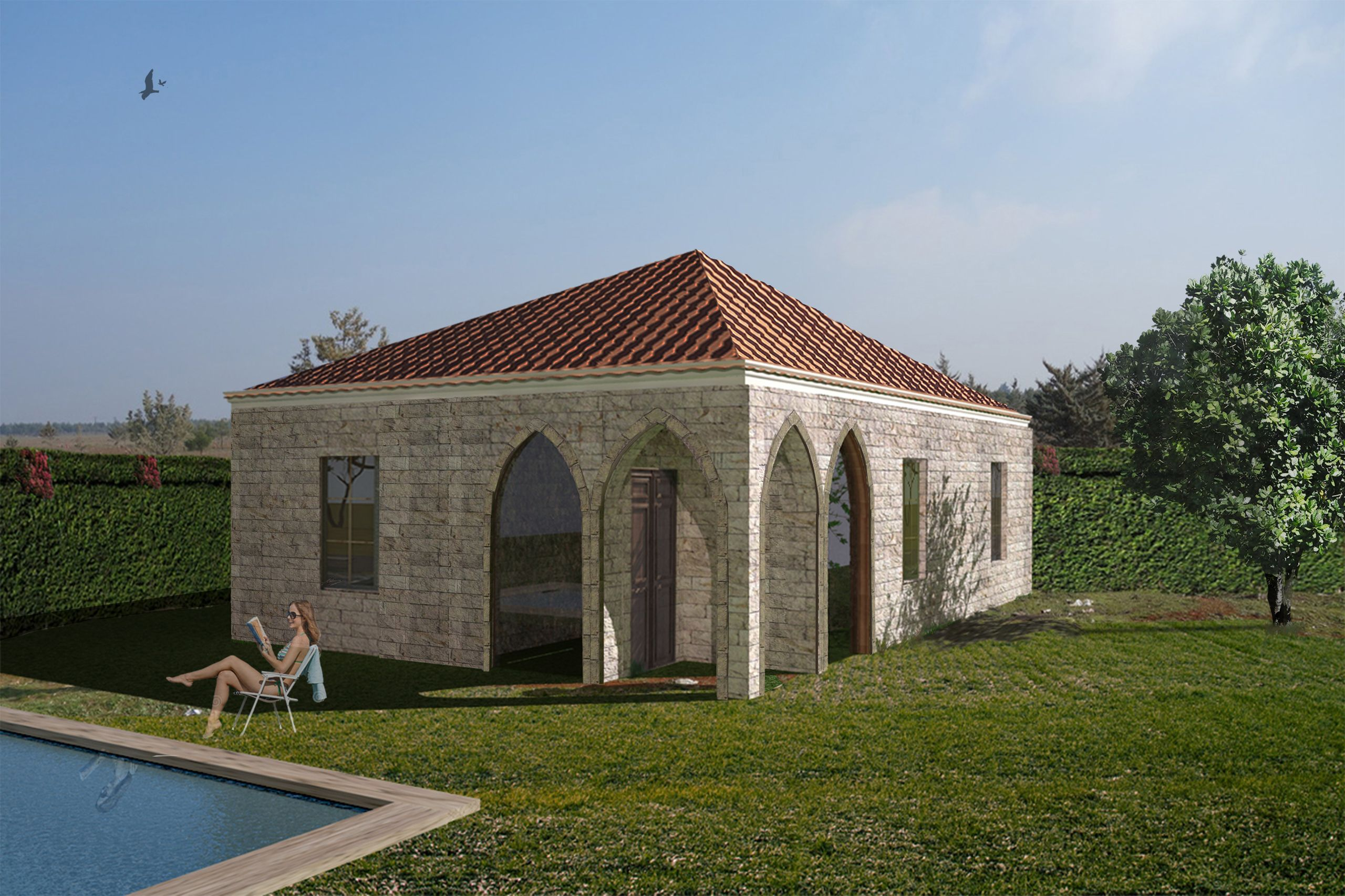 Traditional lebanese house prefabricated house office for Prefab traditional homes